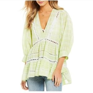 Time out lime combo lace tunic